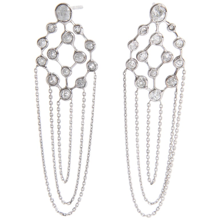 Old Cut Diamonds and 18 Karat White Gold Refines Earrings by Marion Jeantet For Sale