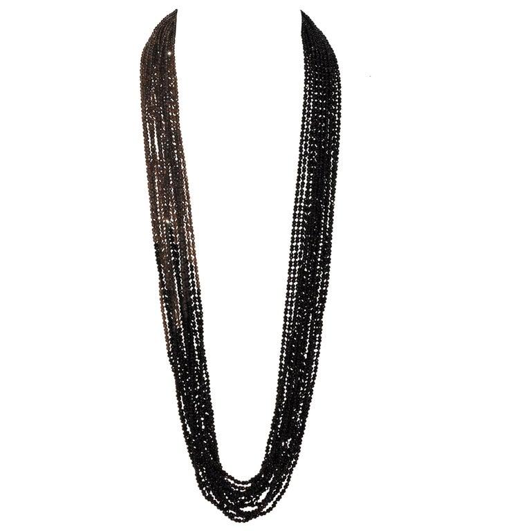 Spinel and Smoky Quartz Sparkling Multi-Strand Necklace