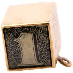 1950s 14 Karat Gold Money Cube Charm Pendant