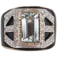 Onyx Aquamarine Diamonds Rose and White Gold Band Ring