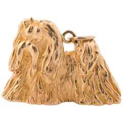1980s 14 Karat Gold Dog Charm Pendant