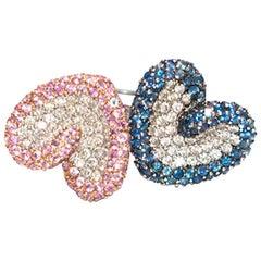 Bespoke Pink and Blue Pave Set Diamond 18 Karat White Gold Ring Set
