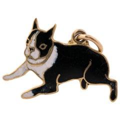 1950s 14 Karat Gold and Enamel Boston Terrier Dog Charm Pendant