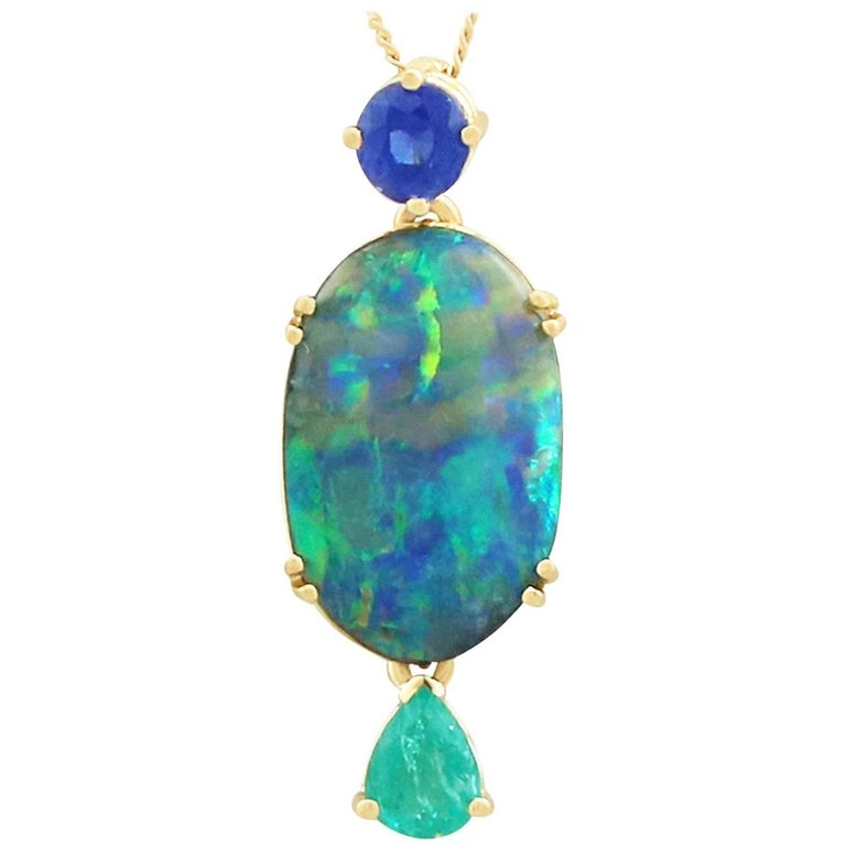 1980s Boulder Opal Emerald Sapphire Yellow Gold Pendant For Sale