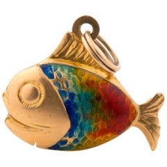 1950s Rainbow Enamel and 14 Karat Yellow Gold Fish Pendant Charm