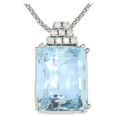 33.21 Carat Emerald Cut Aquamarine and Diamond Pendant