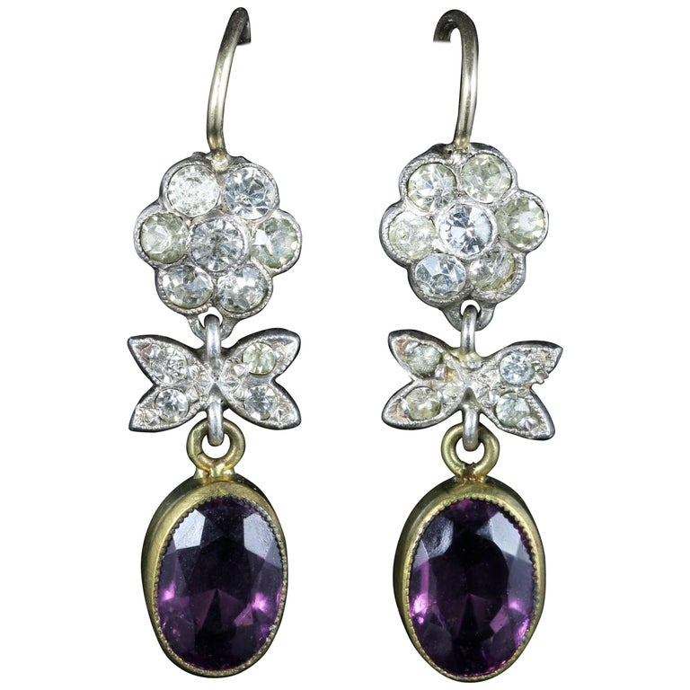 Antique Victorian Amethyst Paste Earrings Gold Silver