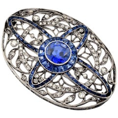 Natural Brilliant Cut Sapphire Brooch / Pin with White Diamonds