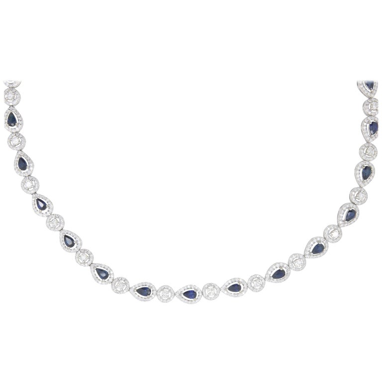 12.18 Carat Pear Shaped Sapphire and 9.64 Carat White Diamond Opera Necklace