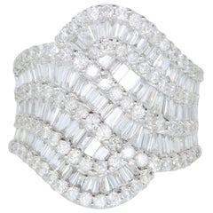 3.32 Carat White Diamond and Baguette Ring