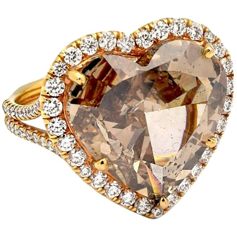 8.04 Carat Fancy Deep Orange Brown Heart Shaped Diamond Ring GIA