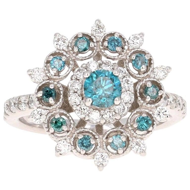 1.34 Carat Blue Diamond White Diamond Cocktail Ring