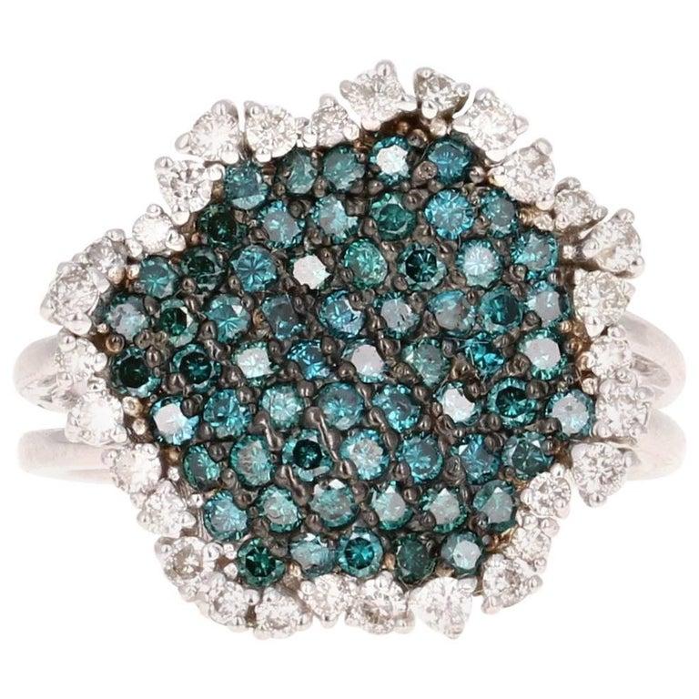 1.21 Carat Blue Diamond White Diamond Cocktail Ring