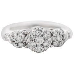 1980s 1 Carat Diamond Cluster 14 Karat White Gold Engagement Ring