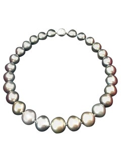Cartier Tahitian Grayish-Purple Pearl Diamond Clasp Necklace