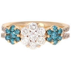 1.31 Carat Blue Diamond Yellow Gold Ring
