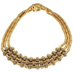 Valentin Magro Triple Row Diamond Motif Tube Necklace