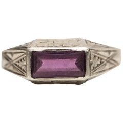 1940 0.50 Carat Amethyst and 14 Karat White Gold Ring