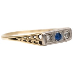 1920 Art Deco Sapphire and Diamond Two-Tone Ring