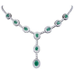 Elegant Diamond and Emerald Drop Necklace