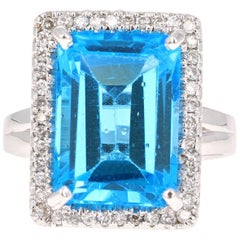 10.51 Carats Blue Topaz Diamond White Gold Cocktail Ring