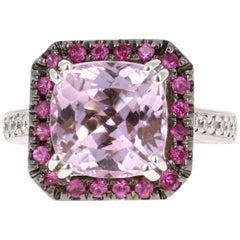 Kunzite, Pink Sapphire and Diamond White Gold Ring