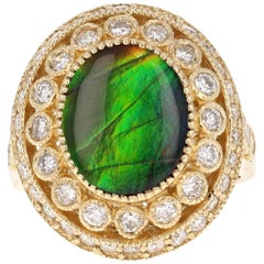 Ammolite Diamond Yellow Gold Ring