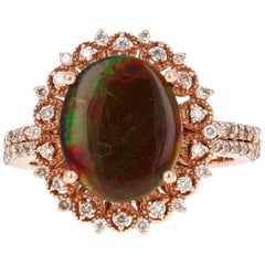 Ammolite Diamond Rose Gold Ring