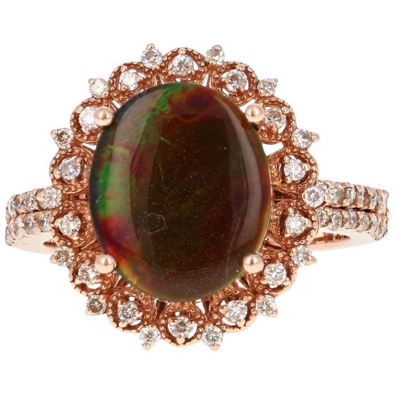 Ammolite Diamond Rose Gold Ring
