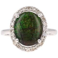 Ammolite Diamond White Gold Ring