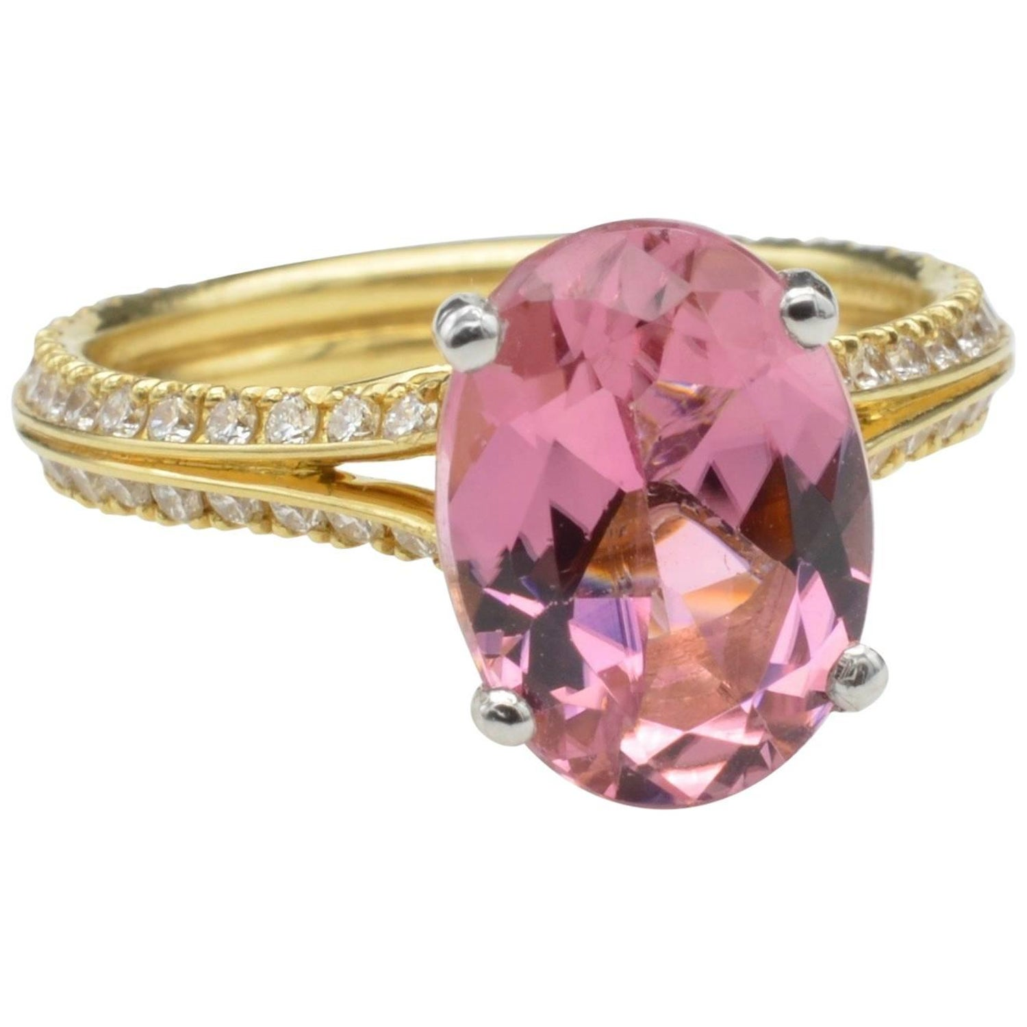 Pink Tourmaline and Diamond Platinum Engagement Ring For Sale at 1stdibs