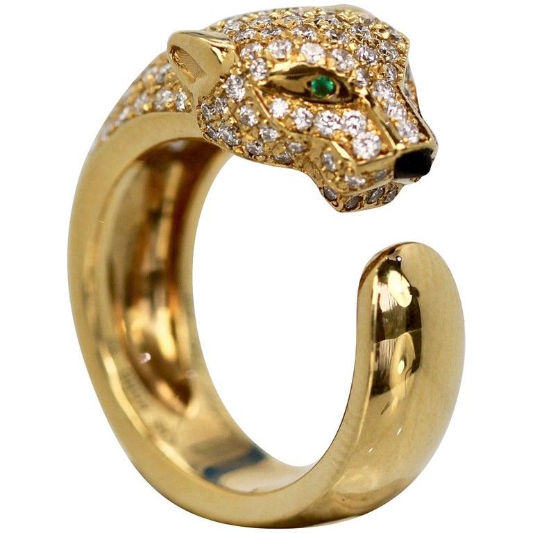 Cartier Diamond Head Panthere Ring Emerald Eye Onyx Nose 18 Karat Gold