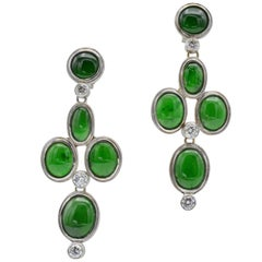 Oval Green Jadeite Earrings with Round Diamonds in White Gold