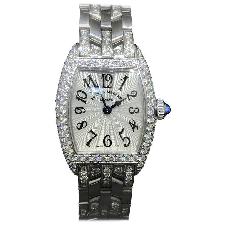 Franck Muller Ladies White Gold Diamond Cintree Curvex Bracelet  Wristwatch