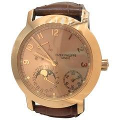 Patek Philippe Rose Gold Calatrava Moonphase Complication Automatic Wristwatch