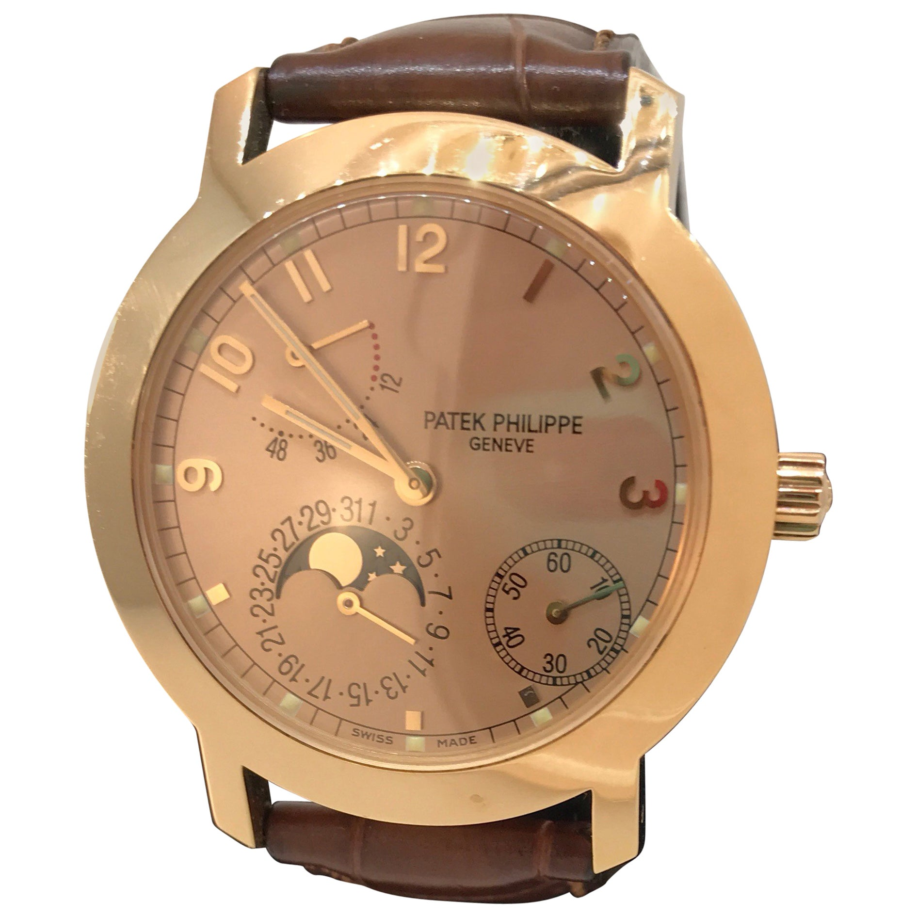 0d717529014 Patek Philippe Rose Gold Calatrava Moonphase Complication Automatic  Wristwatch at 1stdibs