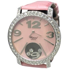 Chopard Ladies White Gold Diamond Happy Diamonds Pink Bezel Wristwatch