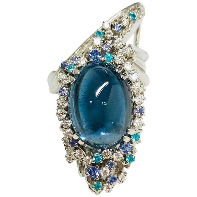 Matsuzaki Pt900 Indigo Tourmaline Tanzanite Paraiba Diamond Forefinger Ring
