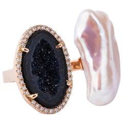 Karolin Rose Gold White Diamond Agate Pearl Cocktail Ring