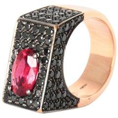 Spinel Black Diamonds Rose Gold Ring