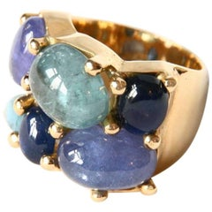 Cabochon Tanzanite Aquamarine Blu Sapphire gold  Band Ring