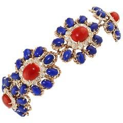 Lapis Coral Diamond Gold Floral Cluster bracelet