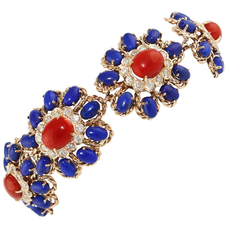 Lapis Coral Diamond Gold Floral Cluster bracelet For Sale
