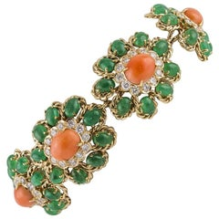Emerald Diamond  Coral Floral Cluster Bracelet