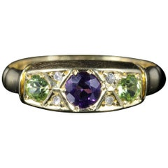 Antique Suffragette Ring Amethyst Peridot Diamond Dated 1902