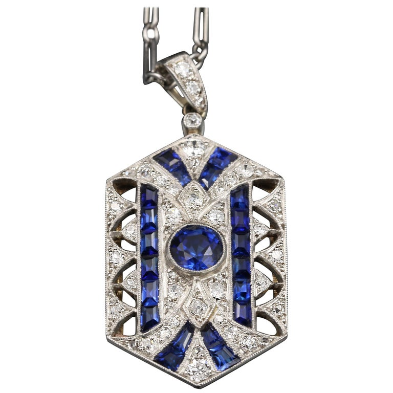 Gold, Platinum and Sapphires French Art Deco Pendant