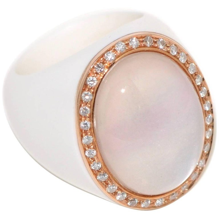 Bakelite, Quartz and White Diamonds Rose Gold Cocktail Ring