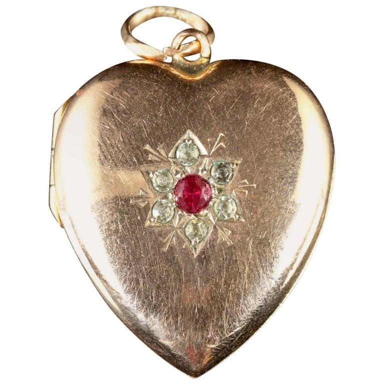 Antique Victorian Gold Heart Locket Ruby Paste, circa 1900
