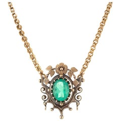 GIA Certified 4.50 Carat Oval Emerald Victorian Gold Necklace Pendant