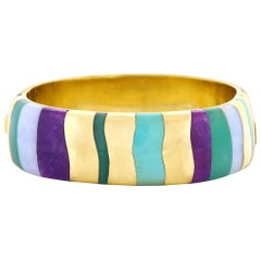 Angela Cummings for Tiffany Inlaid Stone Gold Bangle Bracelet